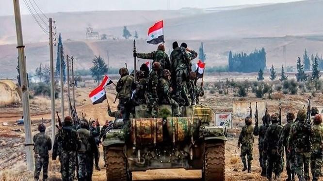 Binh sĩ quân đội Syria tiến vào thành phố Mayadeen - Deir Ezzor - ảnh minh họa Muraselon