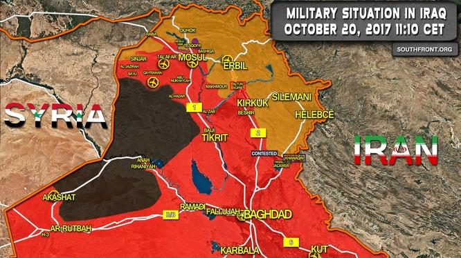 Bàn đồ chiến sự phía tây tỉnh Anbar, khu vực IS đang chiếm đóng - ảnh South Front