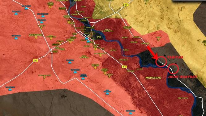 Hướng tiến công của quân đội Syria dọc theo bờ đông Euphrates -- ảnh South Front