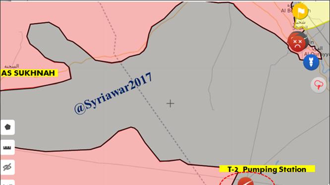 Chiến tuyến khu vực trạm bơm nước T-2 - ảnh syria.liveuamap.com