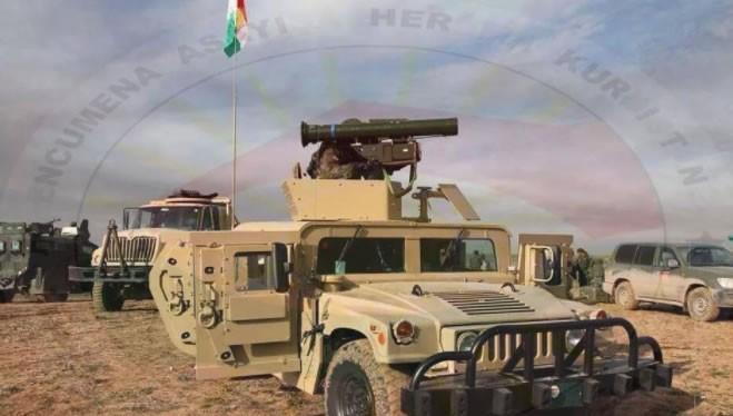 Một xe cơ giới bọc thép của Peshmerga có gắn tổ hợp tên lửa chống tăng HJ-8 Trung Quốc - ảnh War is Boring
