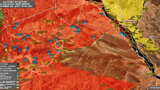 Bản đồ tình hình chiến sự khu vực tỉnh Deir Ezzor, SDF tấn chiếm các mỏ dầu ngoại ô thành phố - ảnh South Front