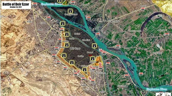 Bản đồ quân đội Syria tấn công trên đảo Saqr và khu công nghiệp thành phố Deir Ezzor - ảnh South Front