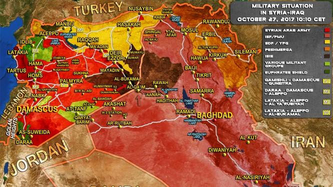 Bản đồ tình hình chiến sự Syria - Iraq ngày 27.10.2017 theo South Front