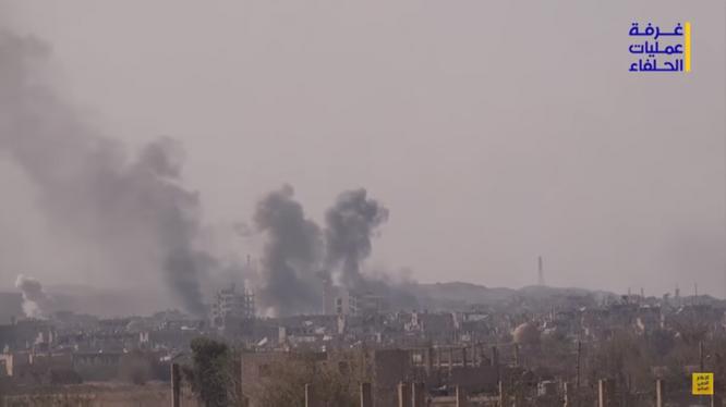Quân đội Syria pháo kích dữ dội vào chiến tuyến của IS ở thành phố Deir Ezzor - ảnh video Hezbollah