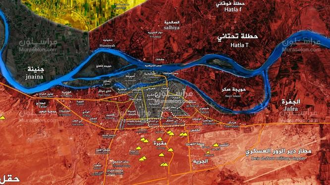 Bản đồ chiến sự thành phố Deir Ezzor, những khu vực quân đội Syria giải phóng ngày 28.10.2017 - ảnh Muraselon