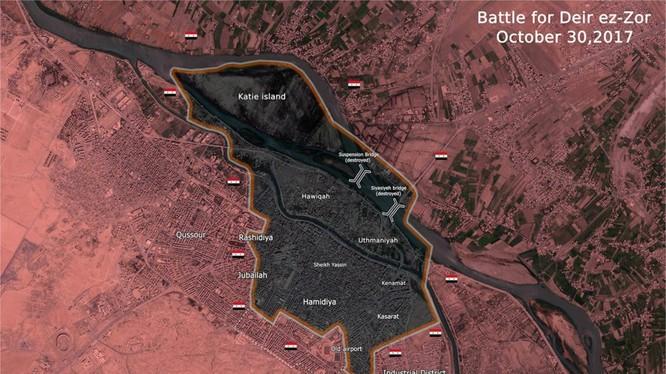 Bản đồ tình hình chiến sự nội thị thành phố Deir Ezzor tính đến ngày 30.10.2017 - ảnh South Front