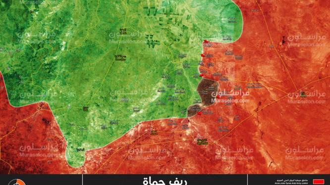 Bản đồ tình hình chiến sự Hama tính đến ngày 31.10.2017 theo Muraselon