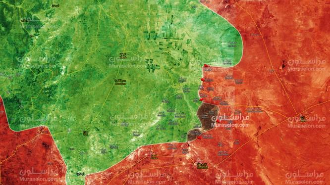Bản đồ tình hình chiến sự vùng đông bắc tỉnh Hama - ảnh Muraselon