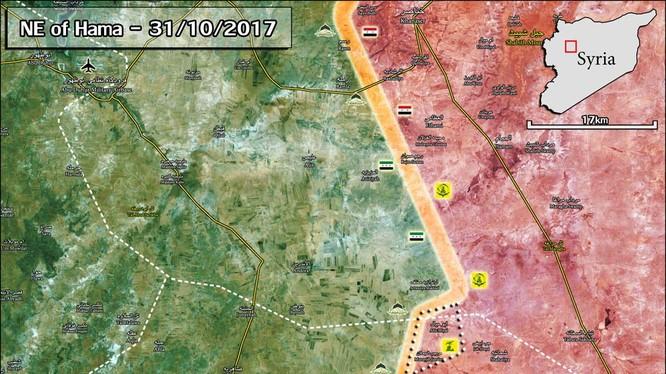 Bản đồ cuộc tấn công của quân đội Syria trên vùng đông bắc tỉnh Hama tính đến ngày 31.10.2017 - ảnh Masdar News