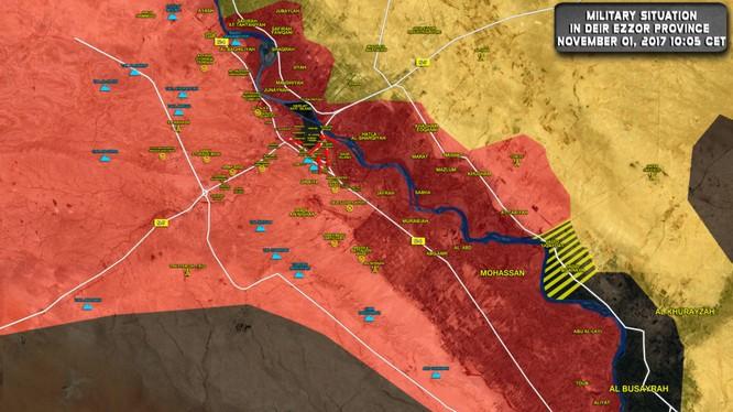 Bản đồ tình hình chiến sự khu vực chiến trường Deir Ezzorr - ảnh South Front