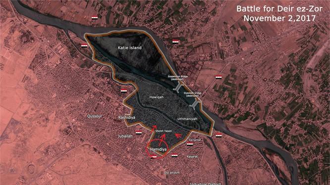 Bản đồ toàn cảnh thành phố Deir Ezzor tính đến ngày 02.11.2017 theo South Front