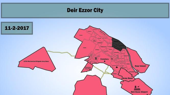 Bản đồ chiến sự thành phố Deir Ezzor, tính đến cuối ngày 02.11.2017 - ảnh South Front