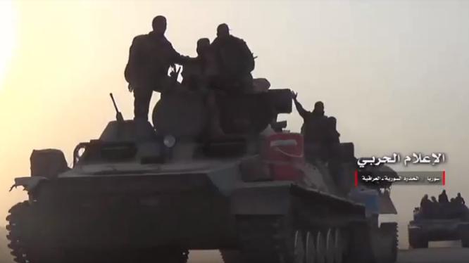 Quân đội Syria tiến công từ căn cứ Trạm bơm nước T-2 về hướng thành phố al-Bukamal - ảnh Masdar News
