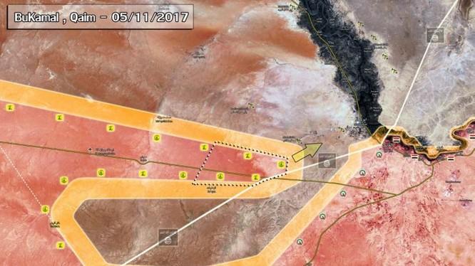 Chiến dich tấn công của quân đội Syria, IRGC, Hezbollah về phía thành phố Albukamal - bản đồ South Front