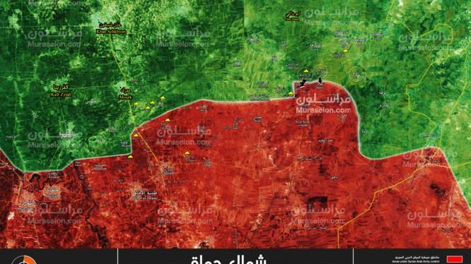 Bản đồ tình hình chiến sự vùng nông thôn miền bắc Hama, phiến quân đánh chiếm 2 khu dân cư của quân đội Syria - ảnh Muraselon