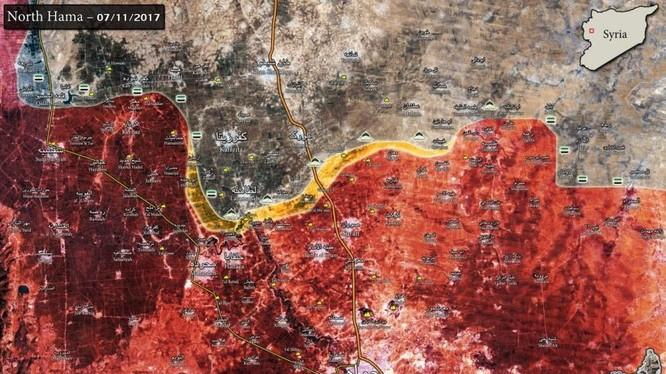 Bản đồ chiến sự vùng đông bắc thành phố Hama - ảnh minh họa Masdar News