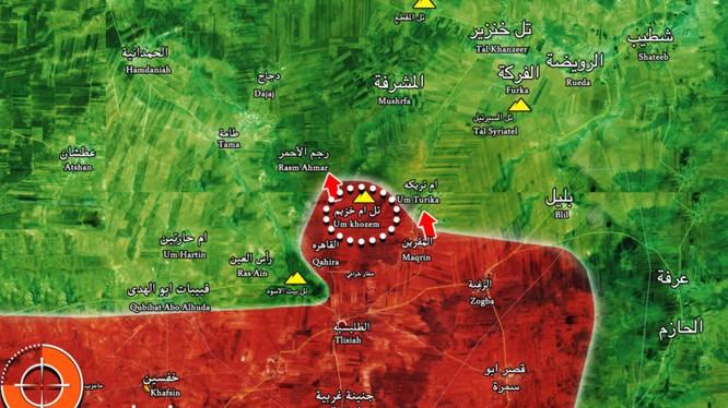 Bản đồ tình hình chiến sự thành phố Hama, quân đội Syria tái chiếm lại một thị trấn nhỏ - ành Muraselon