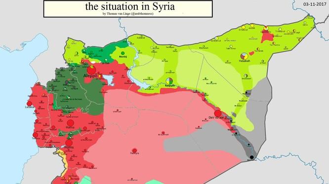 Bản đồ tình hình chiến sự Syria tính đến ngày 03.11.2017 theo South Front