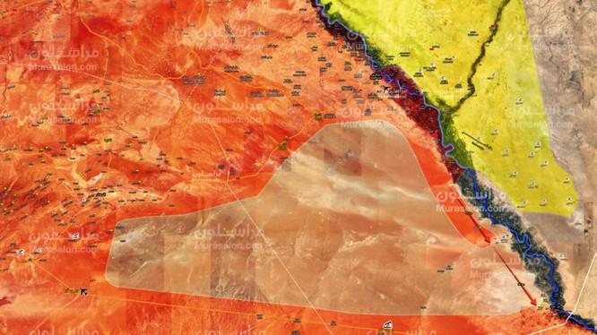 Bản đồ chiến sự Mayadeen - AlBukamal, lực lượng Tiger cách thành phố 35 km - ảnh Muraselon