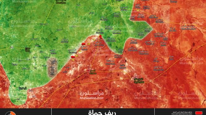 Bản đồ tình hình chiến sự miền bắc tỉnh Hama, giáp giới tỉnh Idlib, quân đội Syria giải phóng Abu Al-Ghir, Hasnawi - ảnh Muraselon