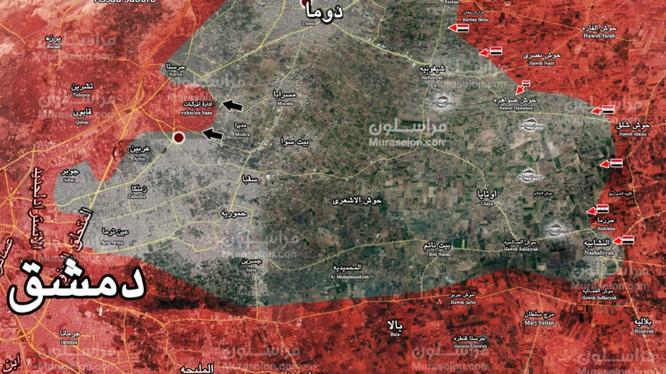 Bản đồ tình hình chiến sự vùng Đông Ghouta - ảnh Muraselon
