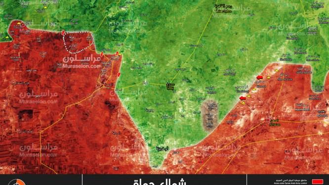 Quân đội Syria tiến công giải phong 3 thị trấn nhỏ trên vùng đông bắc tỉnh Hama - ảnh Muraselon