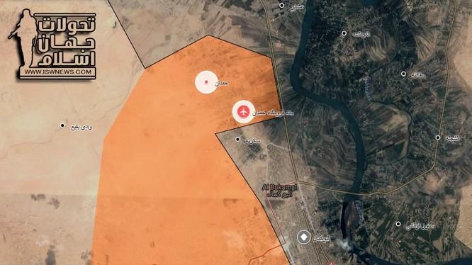 Bản đồ chiến sự thành phố Albukamal, quân đội Syria đánh chiếm sân bay Hamdan - ảnh Masdar News