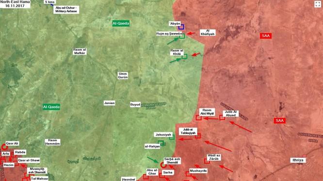 Các mũi tiến công của quân đội Syria trên chiến trường miền đông bắc Hama - ảnh South Front