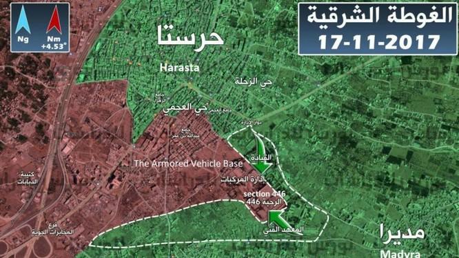 """Bản đồ tình hình chiến sự khu vực Đông Ghouta, tính đến ngày 17.11.2017, ảnh """"đối lập"""" Syria"""