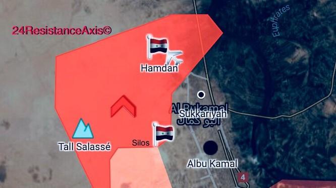 Khu vực quân đội Syria tiến công giair phóng thành phố Albukamal - ảnh South Front