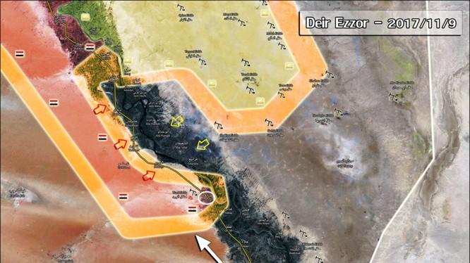 Bản đồ chiến sự tỉnh Deir Ezzor ngày 19.11.2017, thành phố Albukamal hoàn toàn giải phóng - ảnh South Front