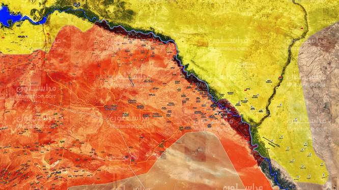 Toàn cảnh chiến trường khu vực tỉnh Deir Ezzor, lực lượng Tiger sắp hoàn thành vòng vây IS ở sa mạc - ảnh Muraselon