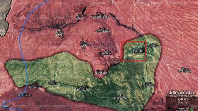 Bản đồ chiến sự khu vực Beit Jinn , cao nguyên Golan, ảnh Muraselon