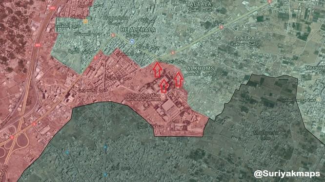 Bản đồ chiến sự khu vực căn cứ sân bay quận Harasta - Đông Ghouta - Damascus, ảnh Muraselon