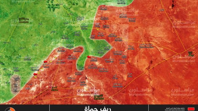 Bản đồ chiến sự miền bắc Hama, khu vòng tròn là thị trấn Shukhaiter - ảnh Muraselon
