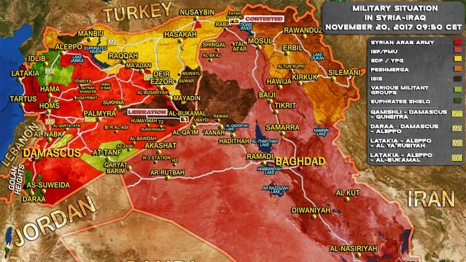 Tổng quan tình hình chiến sự Syria - Iraq tính đến ngày 20.11.2017 theo South Front