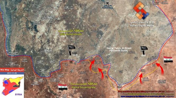 Bản đồ chiến sự vùng đông bắc tỉnh Hama và Idlib - ảnh Syrian Digital Media