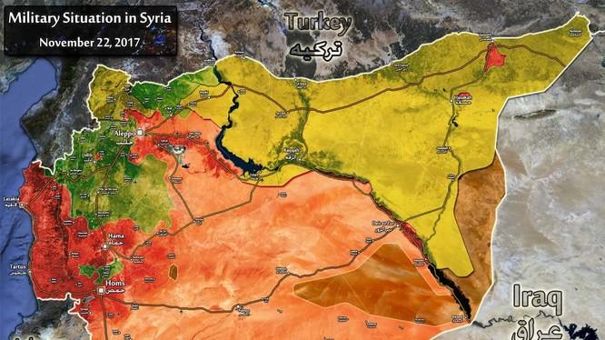 Bản đồ tình hình chiến sự Syria, tính đến ngày 22.11.2017 theo South Front
