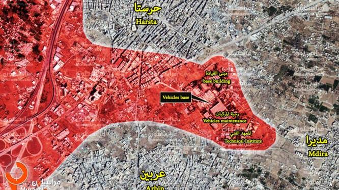 Bản đồ vệ tinh căn cứ thiết giáp ở Harasta sau khi giải phóng - ảnh Muraselon