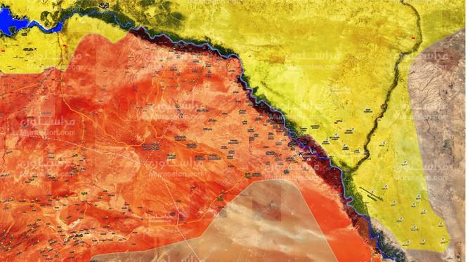 Bản đồ tình hình chiến sự thung lũng phía tây sông Euphrates - ảnh Muraselon