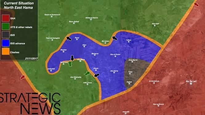 Vùng tấn công của IS trên chiến trường miền bắc Hama - ảnh South Front