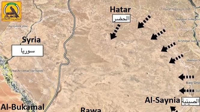 Bản đồ các mũi tiến công của quân đội Iraq và PMU trên địa bàn tỉnh Al-Anbar - ảnh South Front