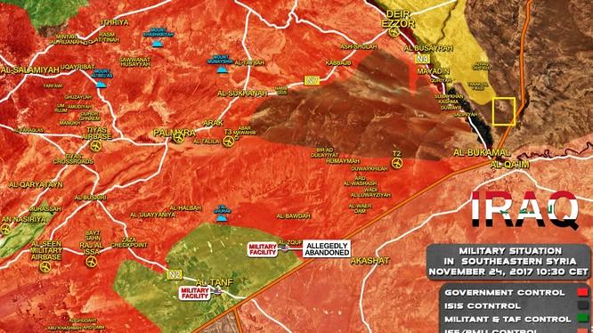 Bản đồ tình hình chiến sự Syria tính đến ngày 25.11.2017, ô vuông là khu vực SDF chiếm đóng - ảnh South Front