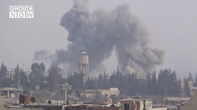 Không quân Syria không kích quân Jobar, Đông Ghouta - ảnh minh họa video Ghouta Now