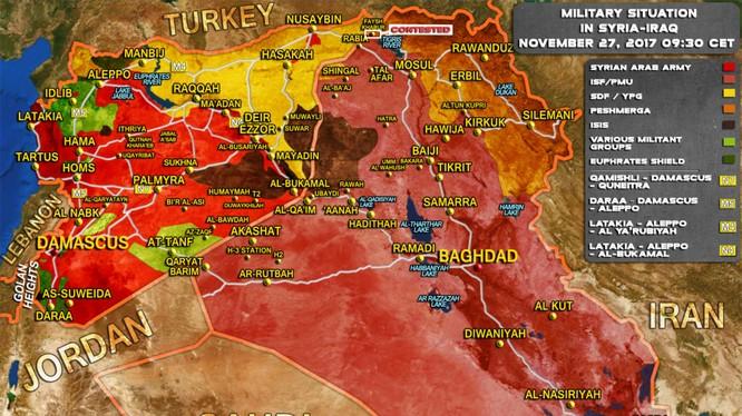 Bản đồ tình hình chiến sự Syria - Iraq tính đến ngày 27.11.2017 theo South Front