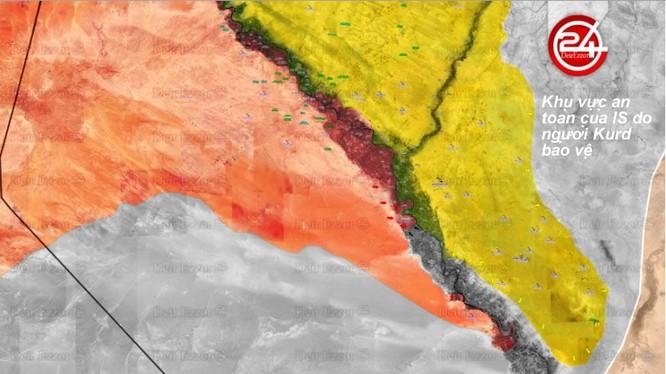 Bản đồ khu vực chiến sự trên vùng Al-Hasakah và Deir Ezzor - ảnh Muraselon