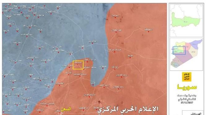 Thị trấn nhỏ Mustarihah (ô vuông vàng) được quân đội Syria giải phóng ngày 26.11.2017 - ảnh truyền thông Hezzbollah