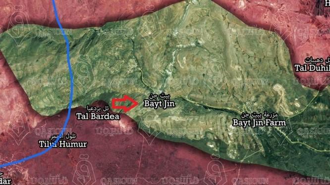 Bàn đồ khu vực Beit Jinn phía tây Damascus, ảnh South Front