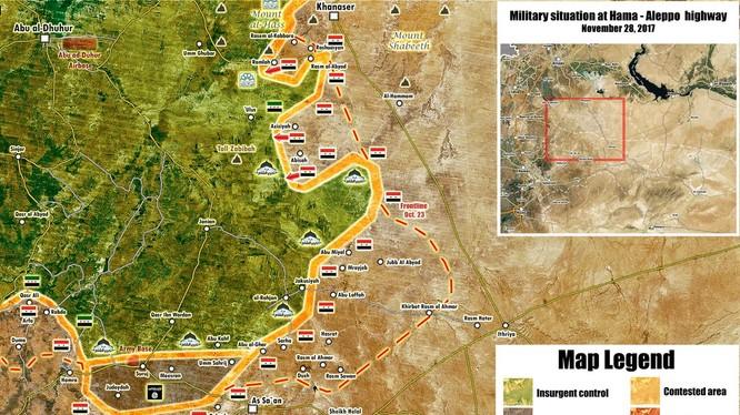 Tổng quan tình hình chiến sự khu vực tỉnh Hama, Aleppo ngày 28.11.2017 theo South Front